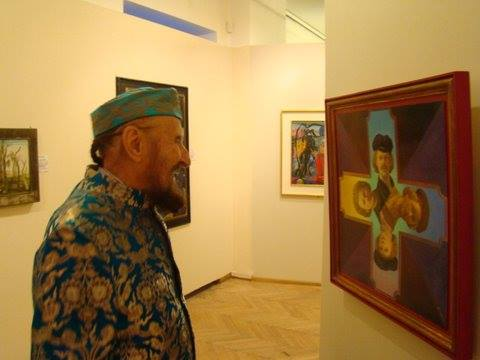 Ernst Fuchs with Fritz Janschka painting at the Phantastenmuseum Wien