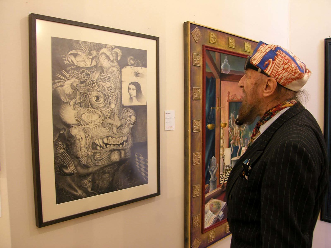 Ernst Fuchs checking my drawing 'The Beast of Babylon' at the Phantasten Museum in Vienna