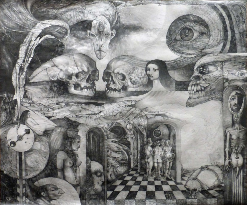 EROS THANATOS II - graphite on paper - work in progress, 120 x 100 cm
